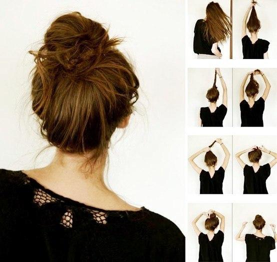 """Этот пучок можно сделать на волосах абсолютно разнообразной длины. Ее главная """"фишка"""" - свободные пряди. Создать французский пуч"""